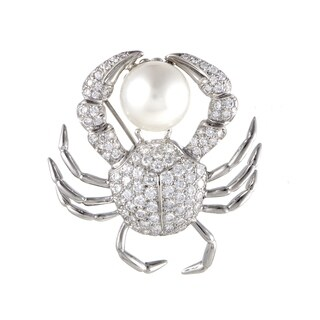 Tiffany & Co. Platinum Diamond Pave and 13.8mm White Pearl Crab Brooch