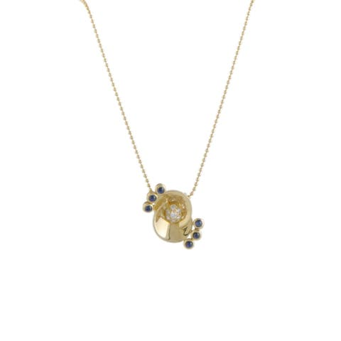 Dior Yellow Gold Diamond and Sapphire Pendant Necklace