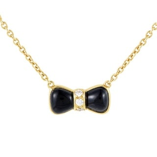 Van Cleef & Arpels Womens Yellow Gold Diamond and Onyx Bow Pendant Necklace