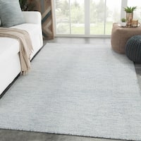 Provence Handmade Geometric Light Blue/ Ivory Area Rug - 8' x 10'