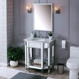Darvil Marble and Mirrored Vanity Sink