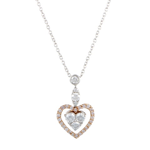 Gregg Ruth White and Rose Gold Diamond Heart Pendant Necklace