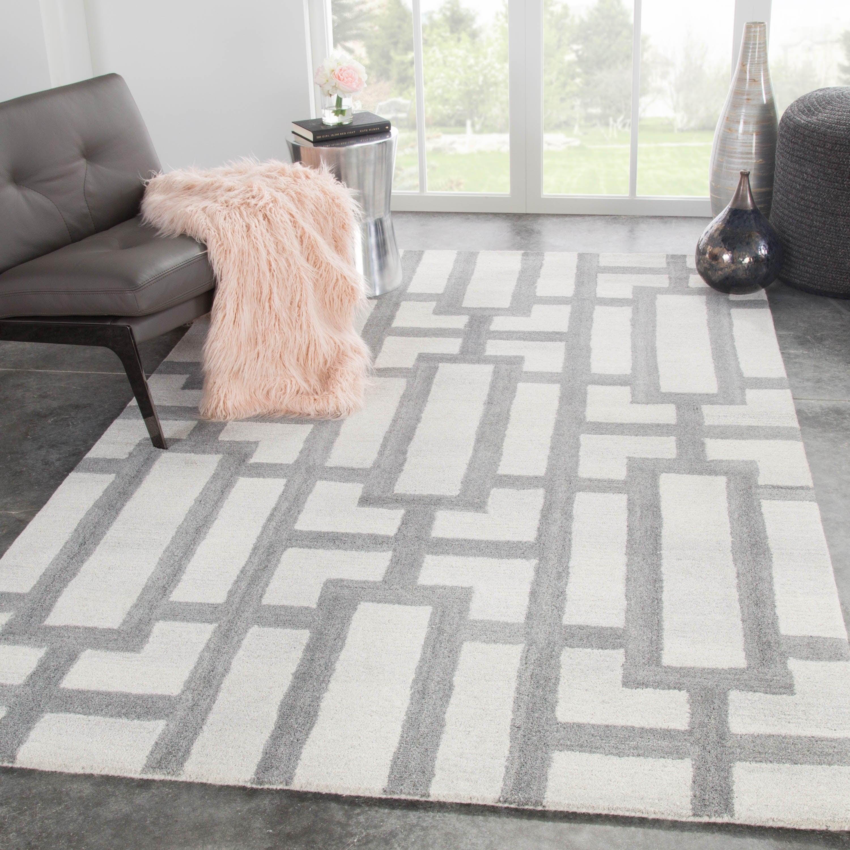 Handmade Geometric Cream Gray Area Rug