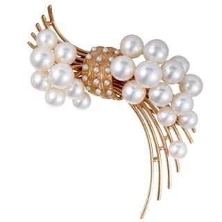 Tasaki Rose Gold White Pearl Brooch