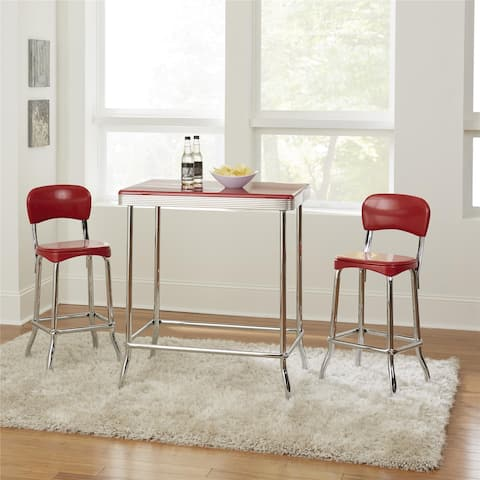 COSCO Stylaire Red and Chrome 3 Piece High Top Set