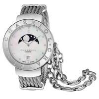 Charriol Women's ST35CS.560.008 'St Tropez' Mother of Pearl Diamond Dial Stainless Steel Moon phase Swiss Quartz Watch