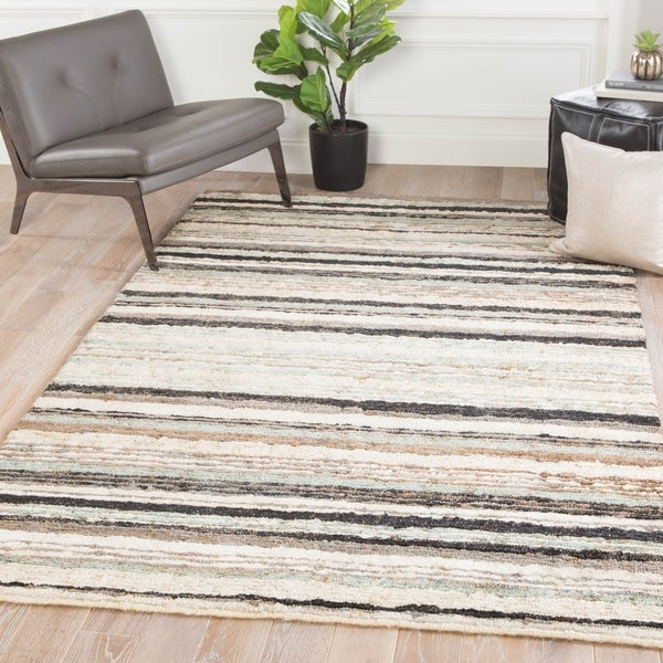 Fabian Hand Knotted Stripe Light Blue Brown Area Rug 2 X 3
