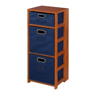 """Flip Flop 34"""" Square Folding Bookcase with Folding Fabric Bins"""