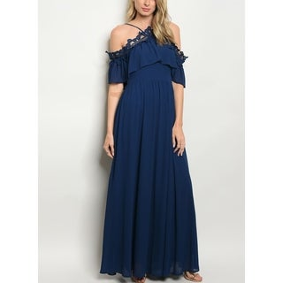 JED Women's Cold Shoulder Navy Chiffon Long Gown