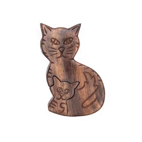 Handmade Mama Cat Puzzle Box (India)