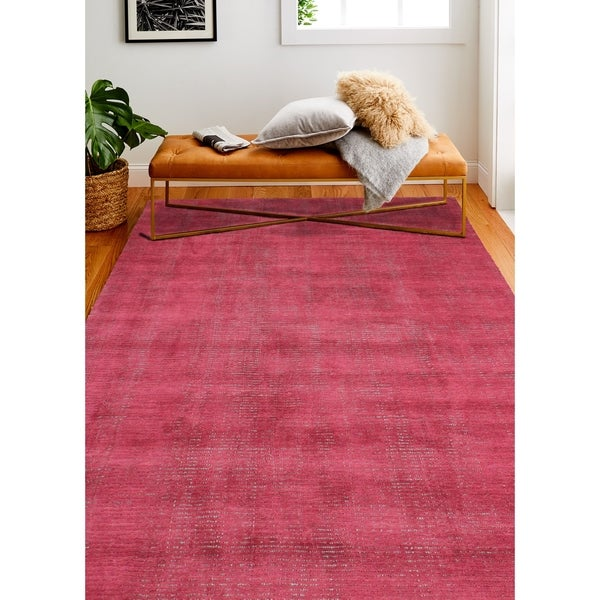 "Janis Red/Grey Contemporary Area Rug - 3'6"" x 5'6"""