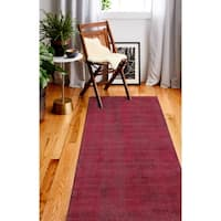 "Janis Red/Grey Contemporary  Area Rug - 2'6"" x 8'"