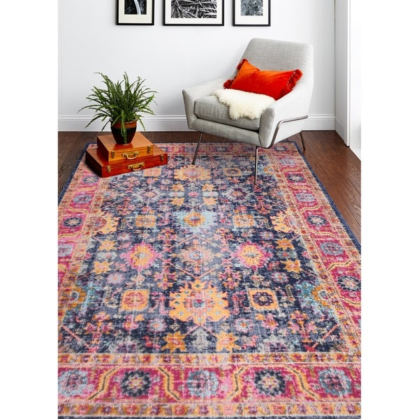 "Nate Dark Blue Transitional Area Rug - 8'7"" x 11'6"""