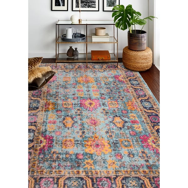 """Nate Teal Transitional Area Rug - 8'7"""" x 11'6"""""""
