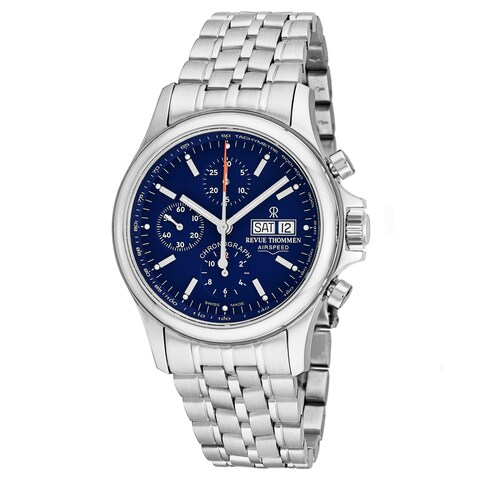 Revue Thommen Men's 'Pilot' Blue Dial Stainless Steel Chronograph Swiss Automatic Watch
