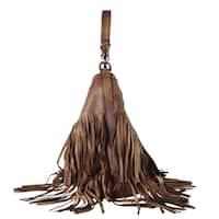 Diophy Genuine Leather Fringe Fashion Hobo Handbag