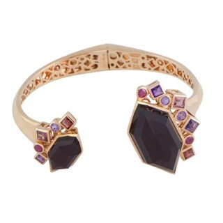 Stephen Webster Goldstruck Rose Gold Amethyst Garnet Ruby Hematite Hinged Bangle Bracelet