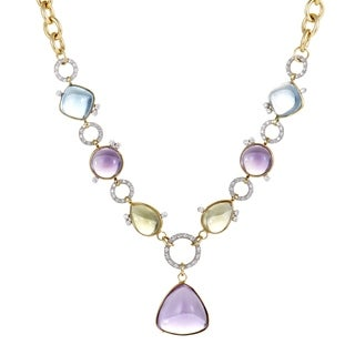 Roberto Coin Womens Yellow and White Gold Diamond and Multiple Gemstones Pendant Necklace