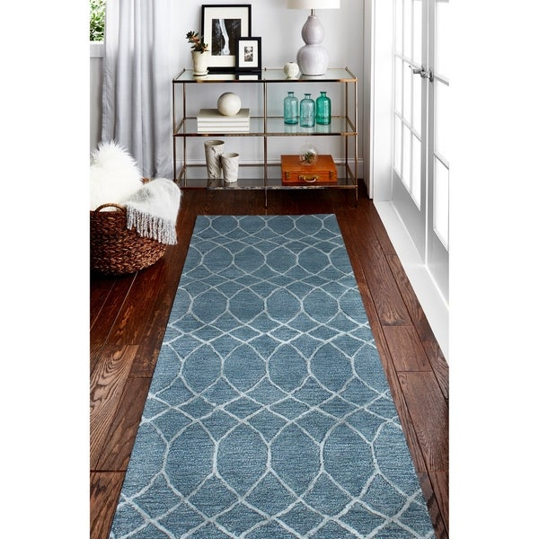 "Marilyn Azure Contemporary Area Rug - 2'6"" x 8' Runner"