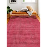 Janis Red/Grey Contemporary  Area Rug - 5' x 7'6""