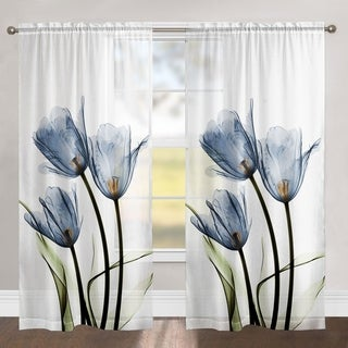 """Laural Home Blooming Tulip Trio 84 Inch Sheer Curtain Panel - 84l""""x50w"""""""
