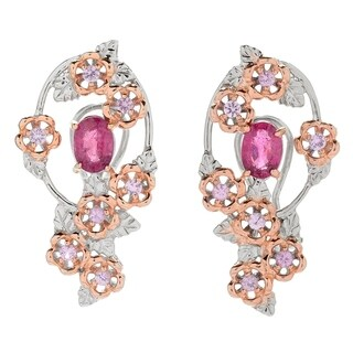 Michael Valitutti Palladium Silver Rubellite & Pink Sapphire Flower Earrings