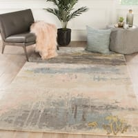 Ilsted Handmade Abstract Blush/ Light Blue Area Rug - 9' x 13'