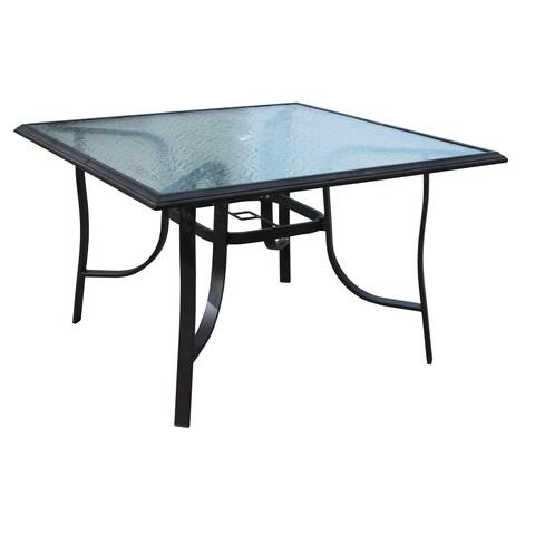 Veranda Classics Peninsula Black Aluminum 45-inch Dining Table with Clear Glass Top