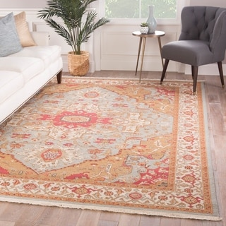 "Gizem Hand-Knotted Medallion Orange/ Pink Area Rug - 8'10"" x 11'9"""