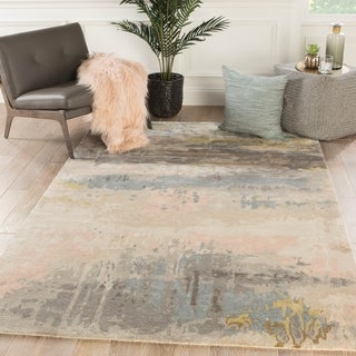 Ilsted Handmade Abstract Blush/ Light Blue Area Rug - 2' x 3'