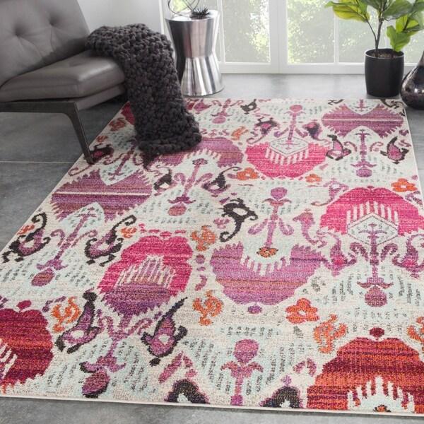 Shop Pandar Ikat Ivory/ Pink Area Rug
