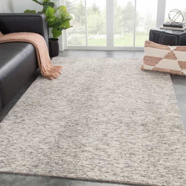 Emrys Handmade Solid Gray/ White Area Rug - 2' x 3'