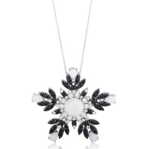 Pasquale Bruni Ghirlanda White Gold Diamonds and White Kogolong Snowflake Pendant Necklace
