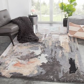 Morisot Handmade Abstract Gray/ Blush Area Rug - 5' x 8'