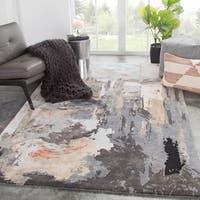 Morisot Handmade Abstract Gray/ Blush Area Rug - 5' x 8'