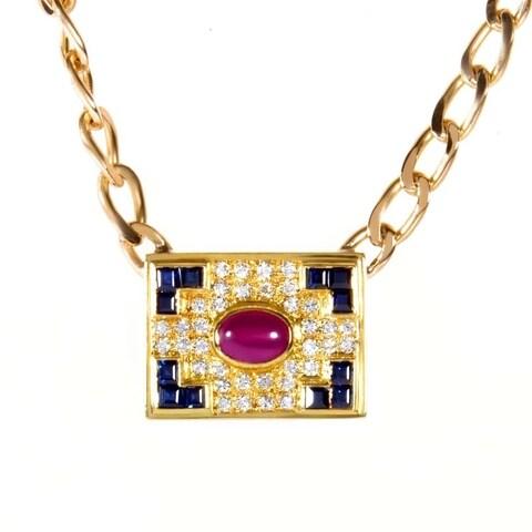 Rose Gold Precious Gemstone Pendant Necklace
