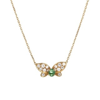 Van Cleef & Arpels Yellow Gold Diamond and Emerald Butterfly Pendant Necklace