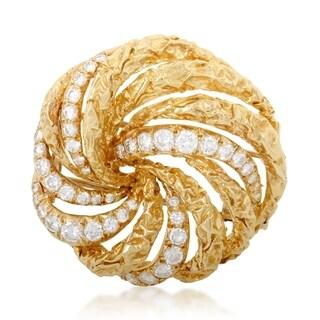 Dior Womens Yellow Gold Diamond Swirl Brooch