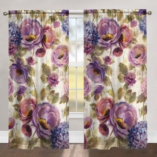 """Laural Home Blue and Purple Florals84 Inch Room Darkening Curtain Panel - 84l""""x50w"""""""