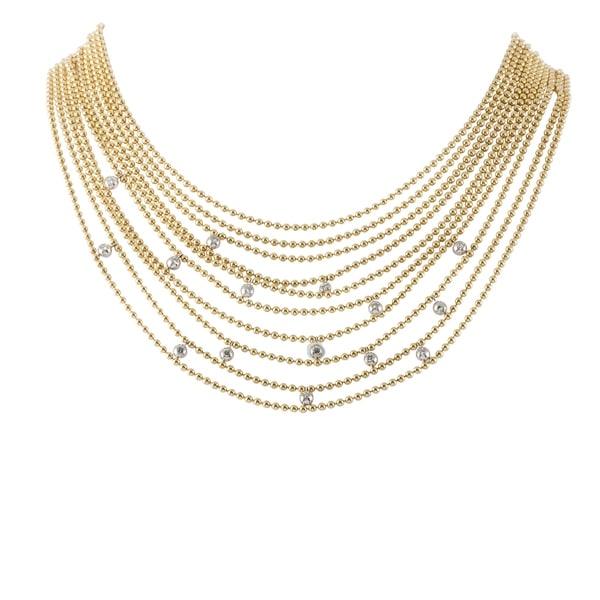 Draperie de Decolette Yellow and White Gold Diamond Multi-Strand Necklace