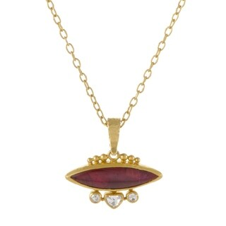 Gurhan Amulet Womens 24K/22K Yellow Gold Diamond and Tourmaline Pendant Necklace