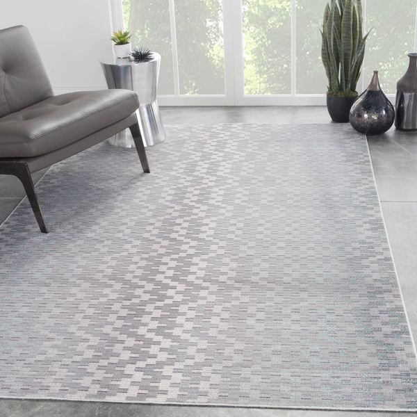 Dionyza Chevron Light Grey Aqua Area Rug 9 X27