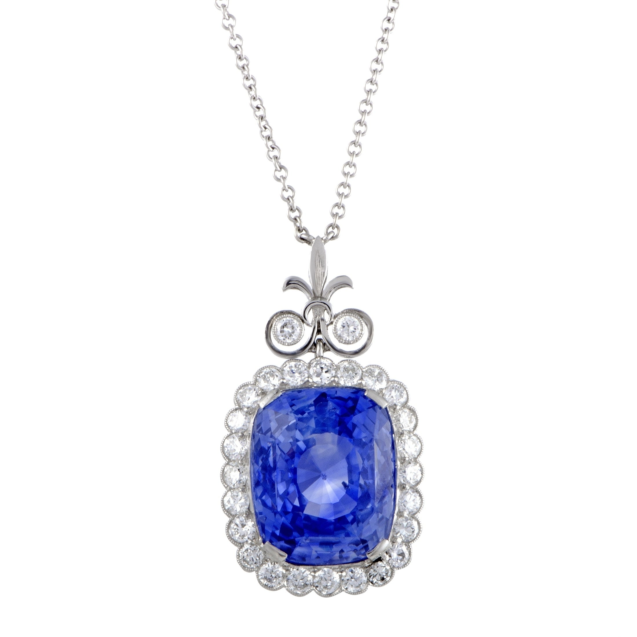 Sapphire Pendant Sapphire Cushion Necklace Sterling Silver Platinum Plated