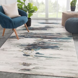 "Tennyson Handmade Abstract Teal/ Gray Area Rug - 7'10"" x 10'10"""