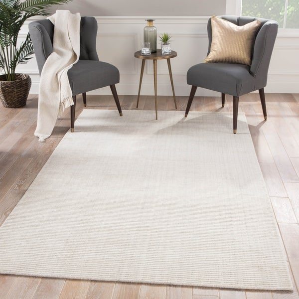 Phase Handmade Solid White/ Gray Area Rug - 2' x 3'