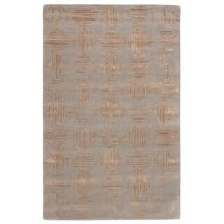 Lowood Handmade Geometric Gray/ Gold Area Rug - 2' x 3'