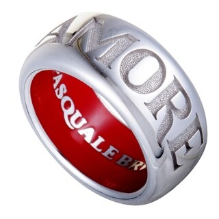 Pasquale Bruni Amore White Gold Red Enamel Thick Band Ring