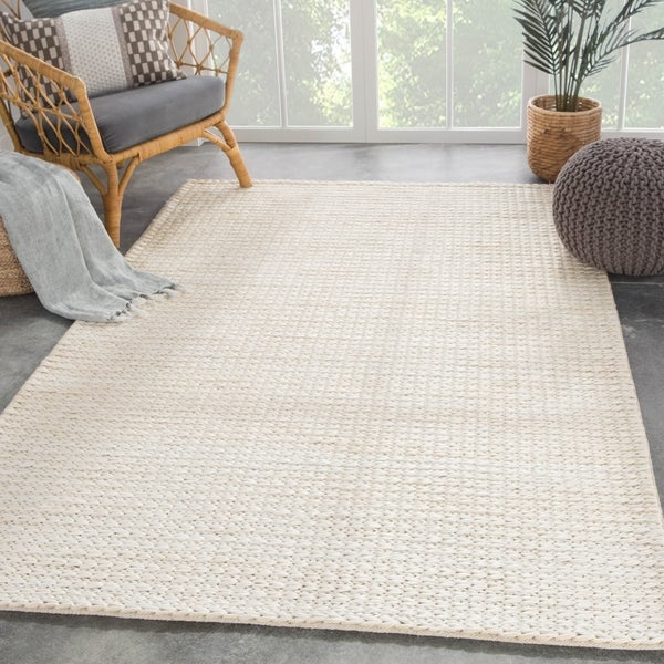 Cyanic Natural Solid White Area Rug - 2' x 3'