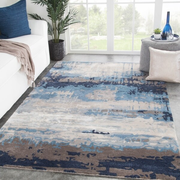 Ilsted Handmade Abstract Blue/ Gray Area Rug - 5' x 8'