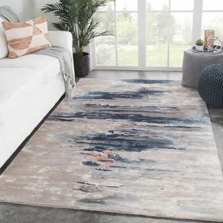 Tennyson Handmade Abstract Blue/ Pink Area Rug - 5' x 8'